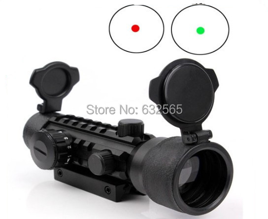 Free Shipping 2x42 Red Dot Scope With Rail Red Dot Sight Red/green Illuminutedfor Rifle Scope For Hunting