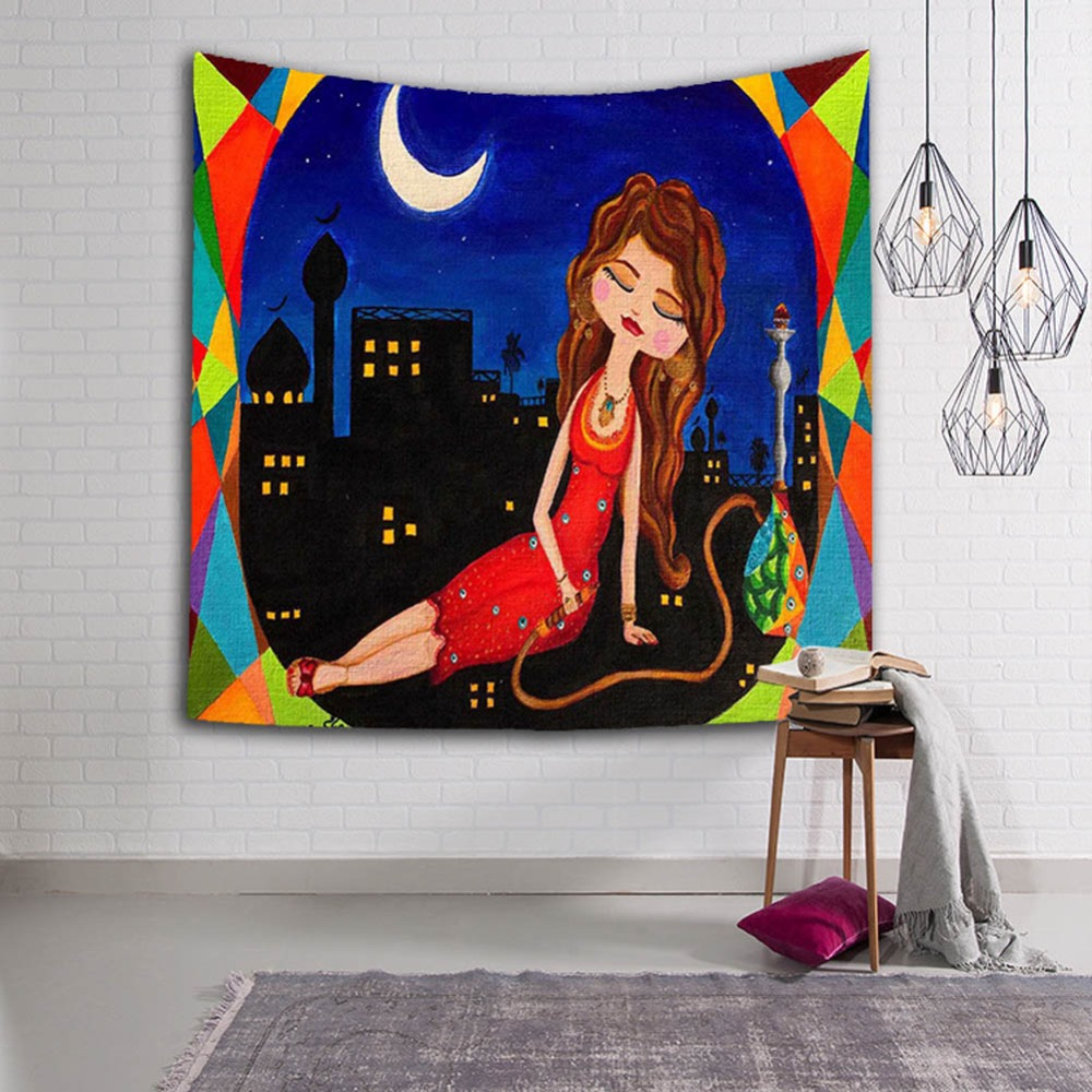 Indonesian Girl Decoration Tapestry 3D Printed Handmade Wall Tapestry Mandala Blanket Beach Towel Tapiz Pared Wall Hanging in Tapestry from Home Garden