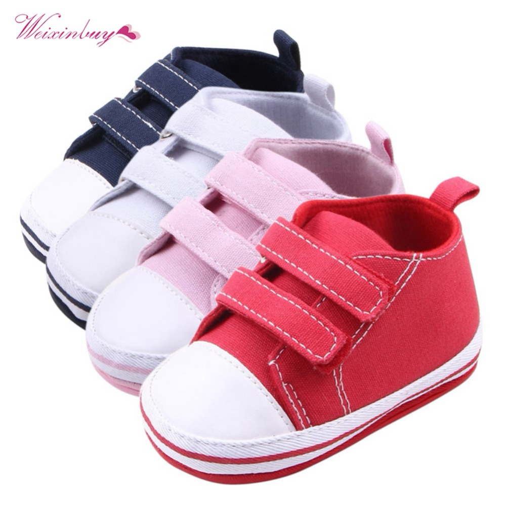 WEIXINBUY Canvas Baby Shoes Newborn Boys Girls First Walkers Infant Toddler Soft Bottom Anti-slip Prewalker Sneakers 0-12M bbay slip on first walkers newborn toddler canvas sneakers baby boy girl soft sole crib shoes first walkers