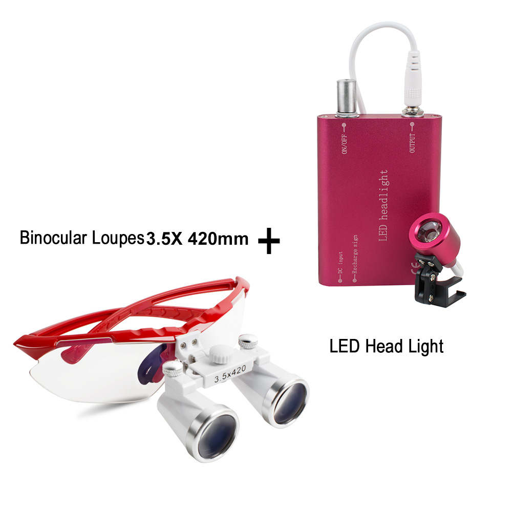 2017 New Red Dentist Dental Surgical Medical Binocular Loupes 3.5X 420mm Optical Glass Loupe+LED Head Light Lamp ce new 3 5x blue dental surgical binocular loupe 420mm led head light lamp