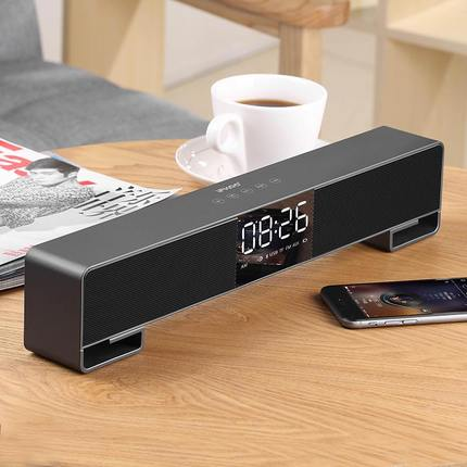 Bluetooth Speaker, Wireless Stereo Sound Speaker Built-in Micro SD Card, LED, Clock , IFKOO F4 Setting the alarm clock
