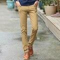 Новый 2016 Высокое Качество мужская Мода Хлопок бегунов Мужчин Случайные Тонкий Стиль Ноги Штаны мужская бизнес Черный Хаки брюки брюки