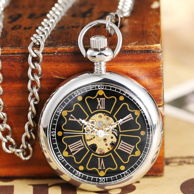 Relógio de Bolso Lasca de Ouro Relógio para Mulheres dos Homens Pequeno Crown Vintage Steampunk Mecânico Vento Mão Masculino Senhora Oco Fob Cadeia