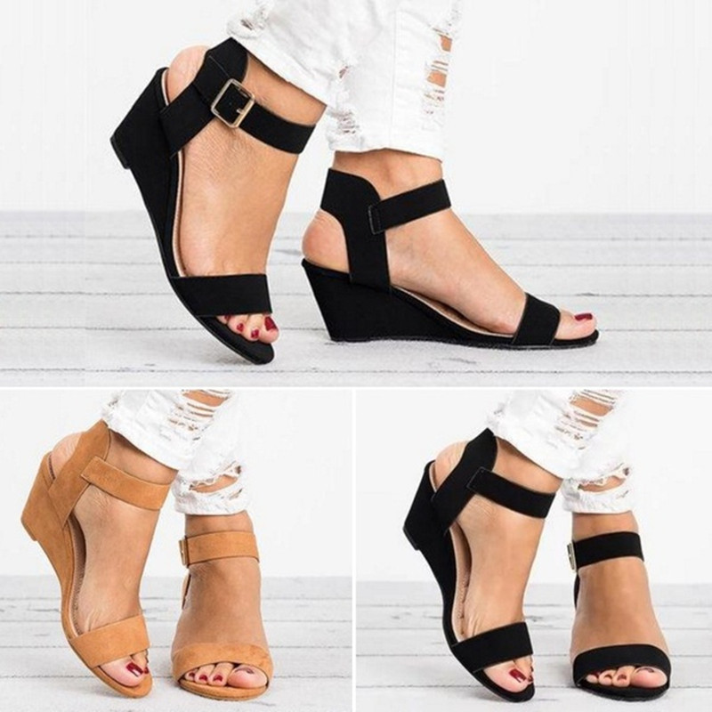 Europe Summer 2019 New Women Sandals Wedge High Heels Fashion Casual Shoes Woman Platform Basic Buckle Strap Plus Size 34-43