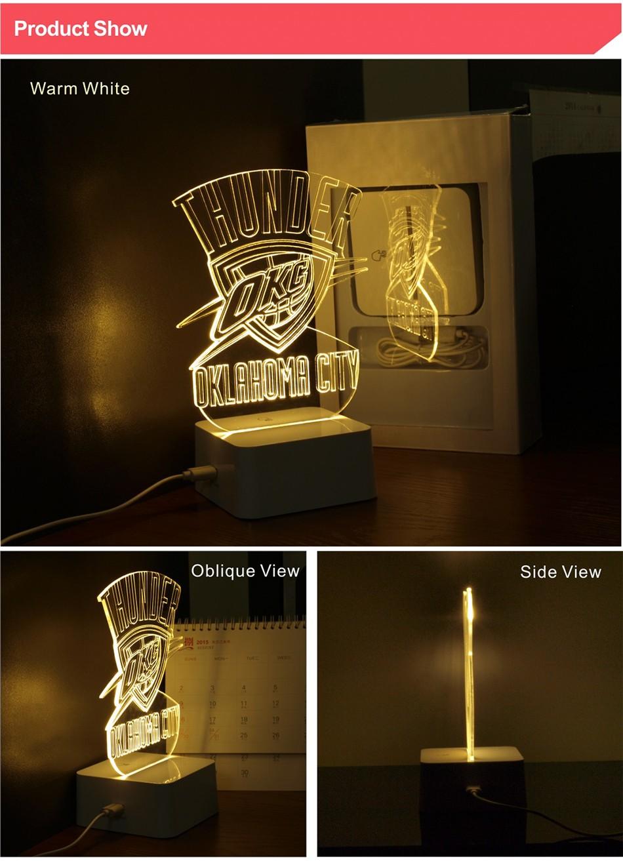 Creative Holiday Gifts for Thunder NBA Desk light Oklahoma City 3D Night Light as Bedroom Lampara (2)