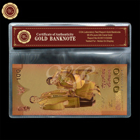 2011 Year Queen Sirikit's 72nd Anniversary Gold Banknote 100 Baht with Plastic Sleeve