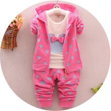 2016 Autumn Children Clothes Girl Mickey Mouse Clothes Suit Hoodies+T-shirt+Pants 3 PCS Kids Cotton Clothing 3 color