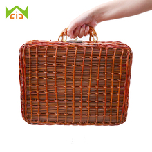 WCIC Handmade Travel Picnic Bamboo Basket Mini Rattan Suitcase Woven Storage Basket Fruit Cosmetic Food Storage Box for Outdoor
