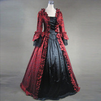 Customized Retro Women's Gothic Victorian Long Dresses Theater Costumes Square Collar Long Flare Sleeve floral Print Ball Gowns