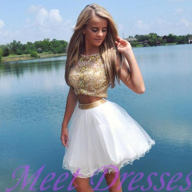 Sexy A Line Scoop Backless Women Prom Party Gowns White And Gold Short 2/Two Piece Homecoming Dresses With Cap Sleeves 2017