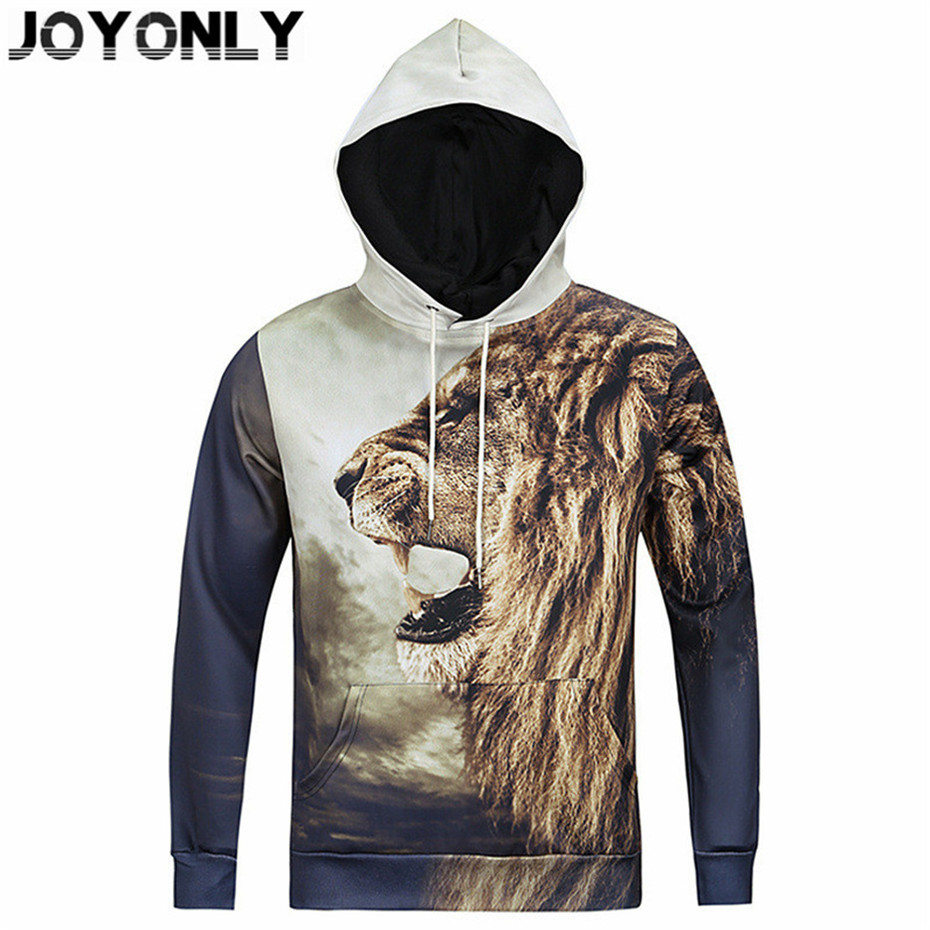 Joy Only 2018 New Harajuku Style Clothes Women/Men Hooded Sweatshirts Animal Lion Tiger Printed Hoodies Fashion Pullovers Tops