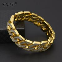2017 Gold Silver Color Hip Hop Womens Mens Bracelet Miami Curb Cuban Chain Iced Out Paved
