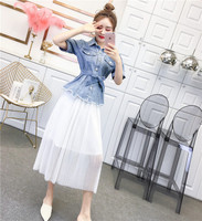 Short Sleeve Denim Two Piece Set Mesh Pleated Women Skirt Sets Temperament Holiday Clothes Women's Clothing Korean Drawstring