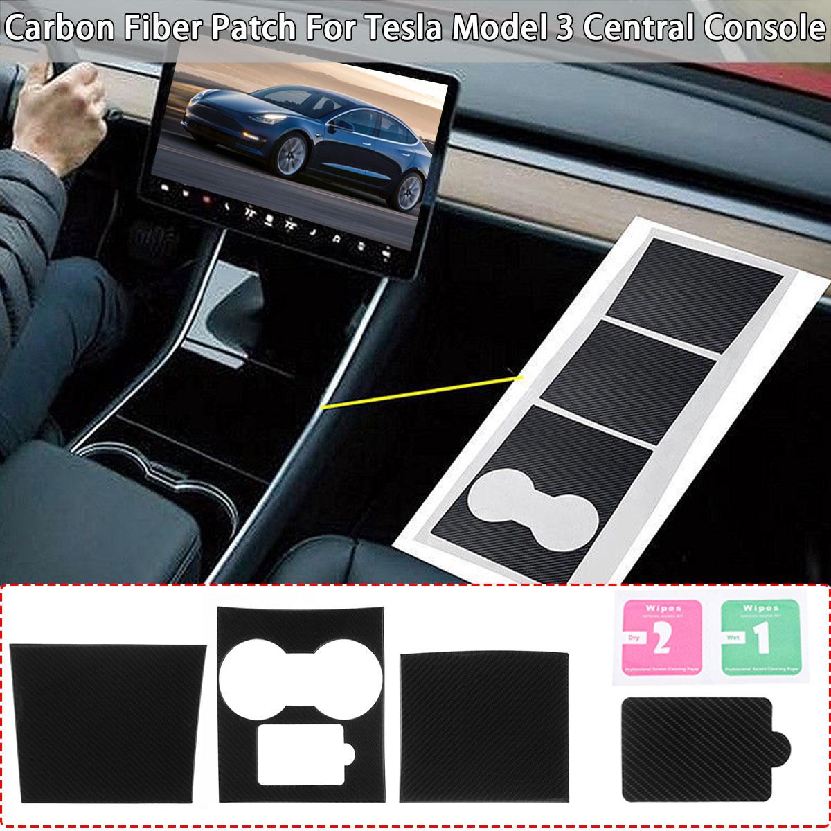 3 pièces de Voiture Autocollants Console centrale Kit Papier Voiture Auto 5D En Fiber De Carbone Pour Tesla Modèle 3 Garnitures Intérieures Automobiles Autocollants