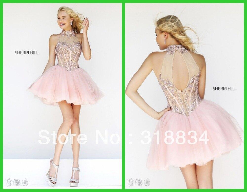 2015 Simple Design Light Pink Tulle Cocktail Dresses High Neck ...