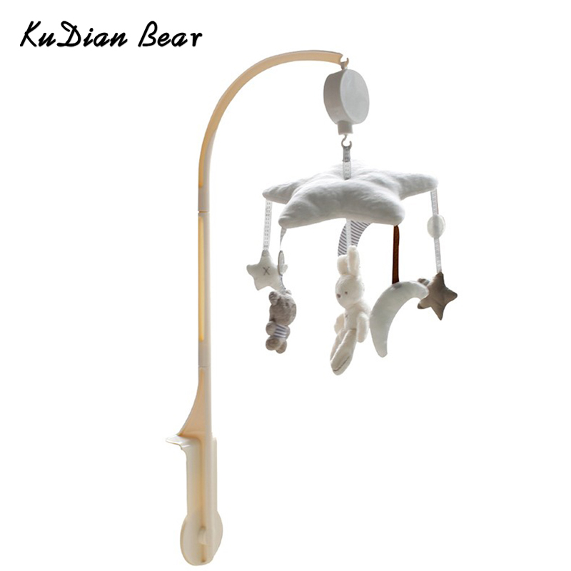 KUDIAN BEAR Baby Toys Baby Mobile Crib Rabbit Musical Box with Holder Arm Music Newborn Rotating Bed Bell Plush Toy BYC078 PT49 infant toys plush bed wind chimes crib hanging bells mechanical music box mobile bed bell toy holder