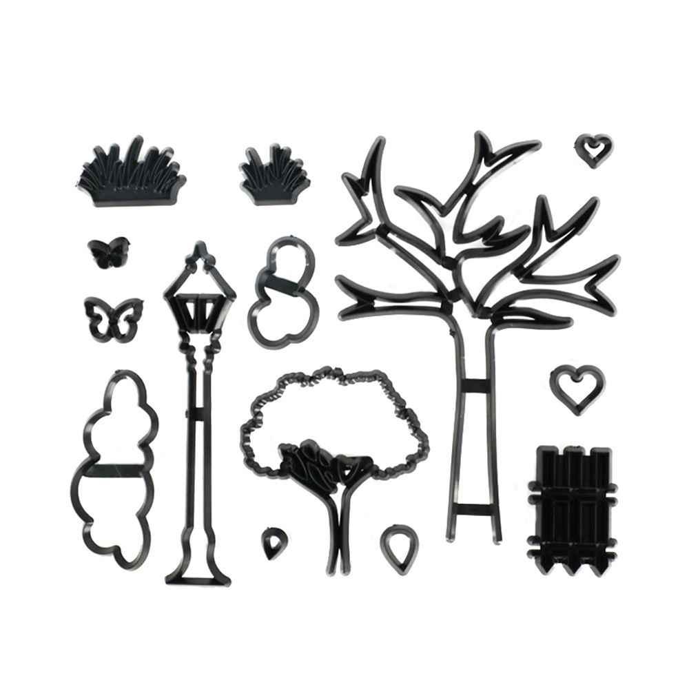 14 ピース/セット公園テーマクッキーカッタープラスチック植物木草ストリートランプフォンダンカッターケーキデコレーションツール型ベーキングカップケーキモールド