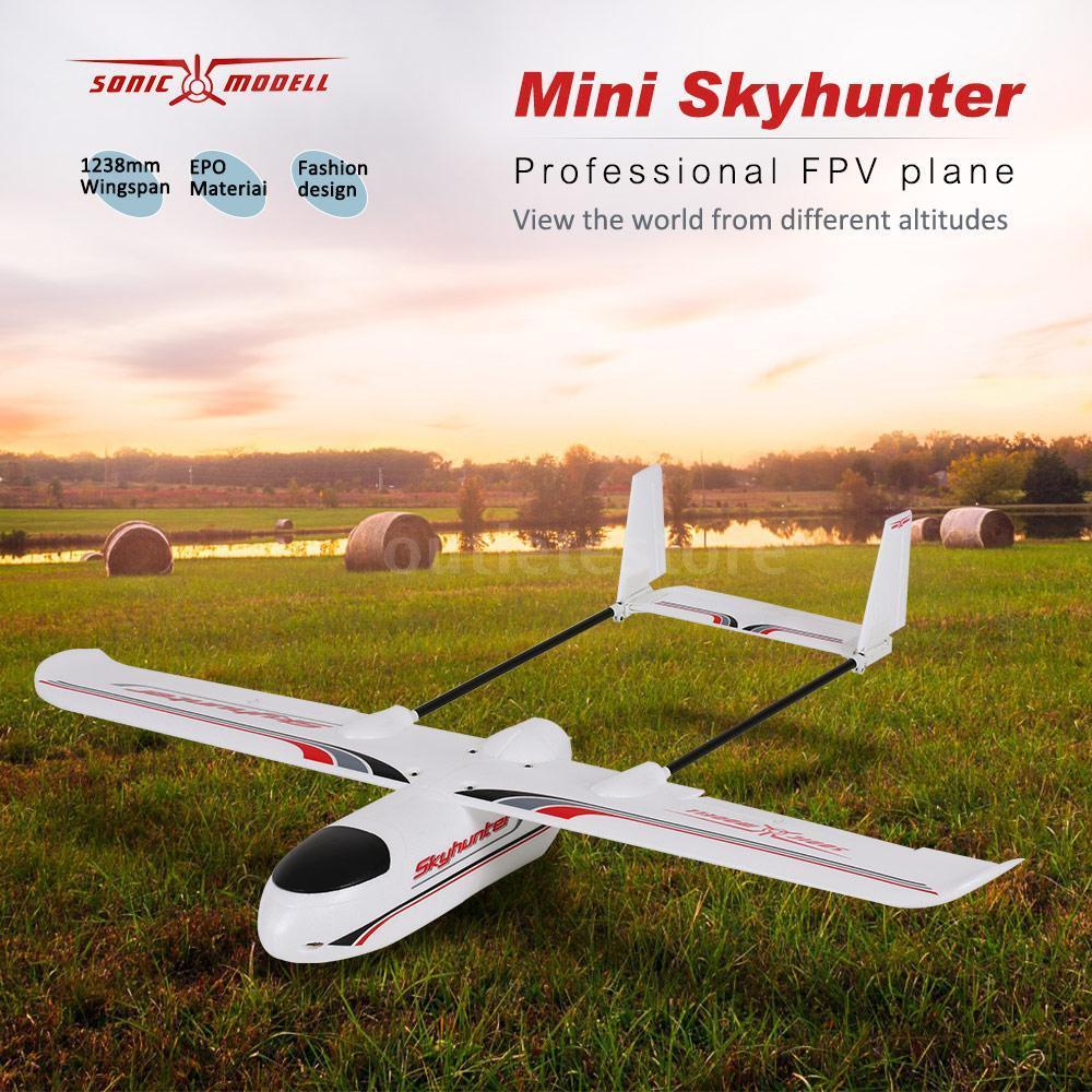 Sonicmodell Micro Mini Skyhunter 1238mm Wingspan EPO FPV RC Airplane KIT V2 Version x uav mini talon epo 1300mm wingspan v tail fpv rc model radio remote control airplane aircraft kit