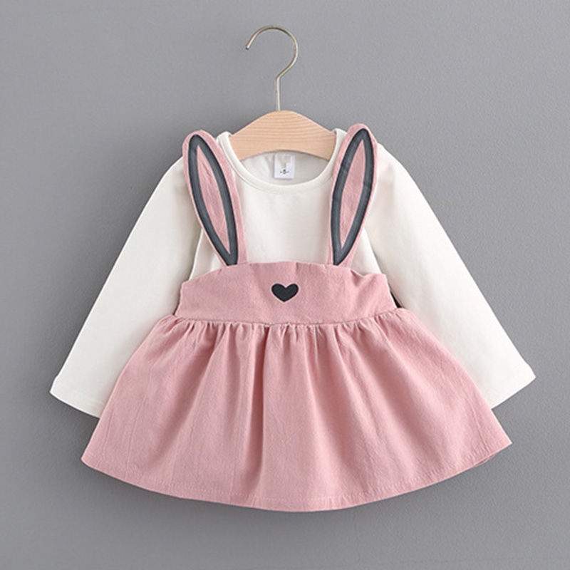 2018 Winter Autumn Baby Girl Dresses Girls Long Sleeve Dress Cute Rabbit Print Princess Vestidos Hot Sale S2