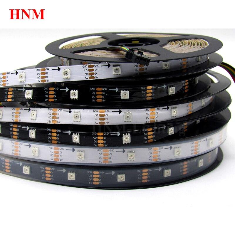 5M 30LED s/m HD107S (similaire APA102/APA107) 5050 SMD lumière bande de pixel LED rgb, bande Flexible numérique, PCB blanc/noir, IP20/IP65/IP67