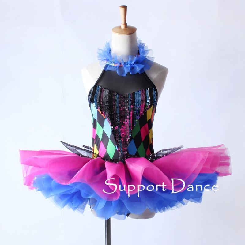 Girls Ruffle Neckline Sequin Ballet Tutu Dress Women Colorful Performance Costume Support Dance C320