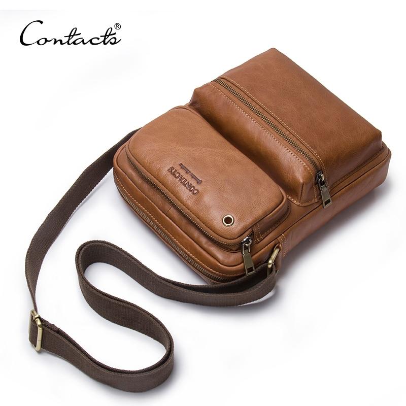 CONTACT'S 2018 New Arrival Genuine Cowhide Leather Bolsa Men's CrossBody Bags Shoulder Bags For Men Messenger Bag Male Style Bag цена