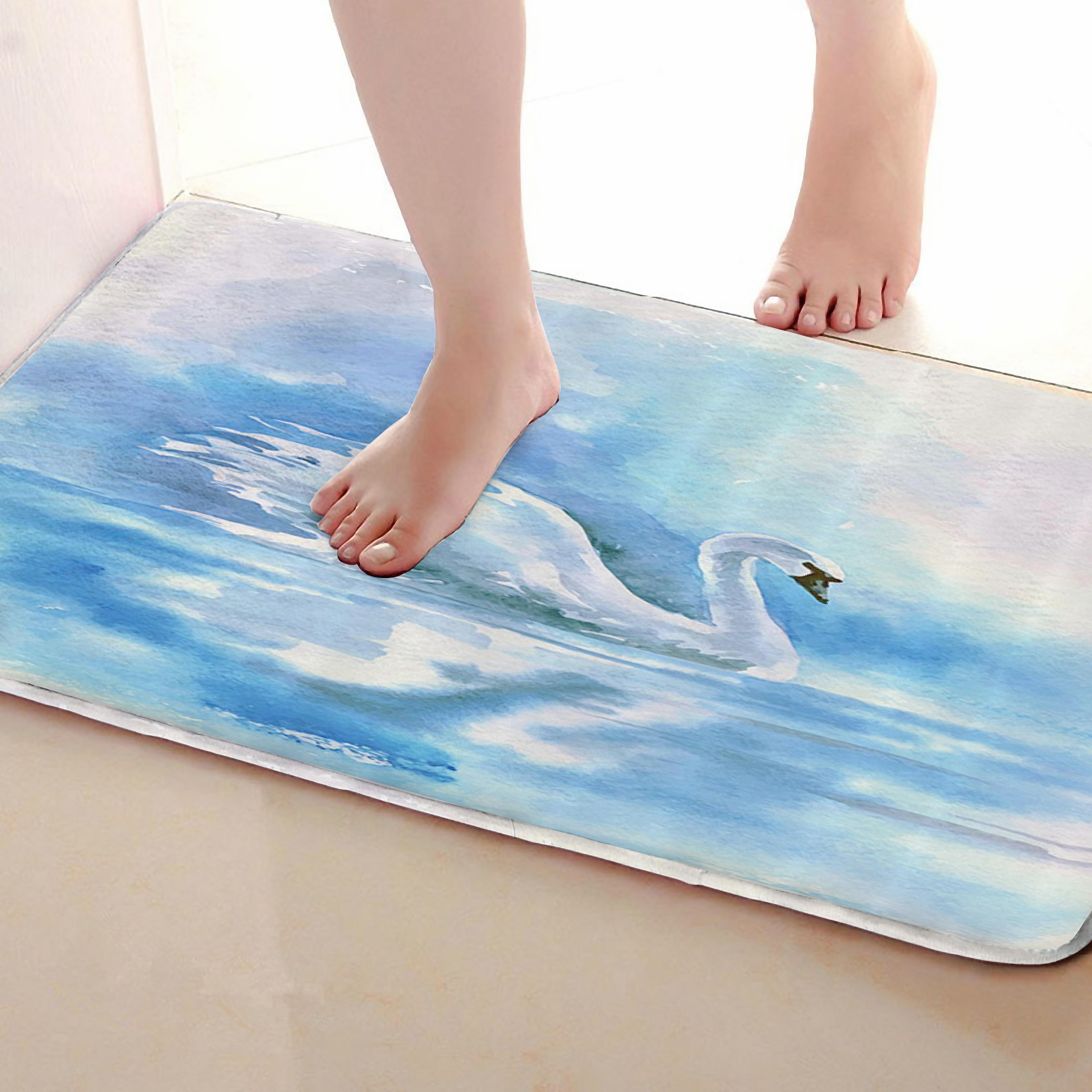 Swan Style Bathroom Mat,Funny Anti Skid Bath Mat,Shower Curtains ...
