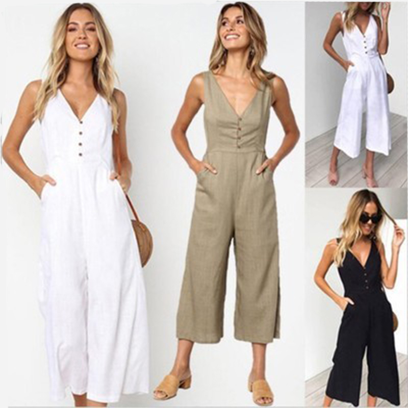 2019 summer linen   jumpsuit   women fashionn sexy Solid v neck buttons plus size overalls Straight female holiday   jumpsuits