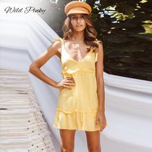 WildPinky Summer Sexy Bow Tie Strap Dress Womens 2019 Backless Ruffles Bundle Waist V-neck Yellow Mini Beach Vestidos