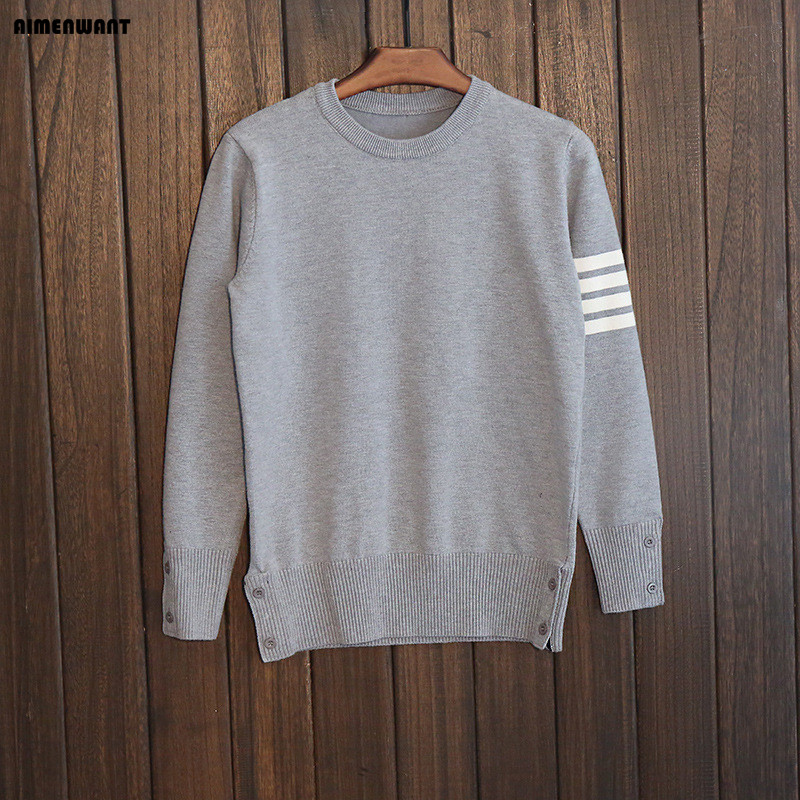 AIMENWANT 2017 New crewneck grey striped wool cotton font b sweater b font Fall warm navy