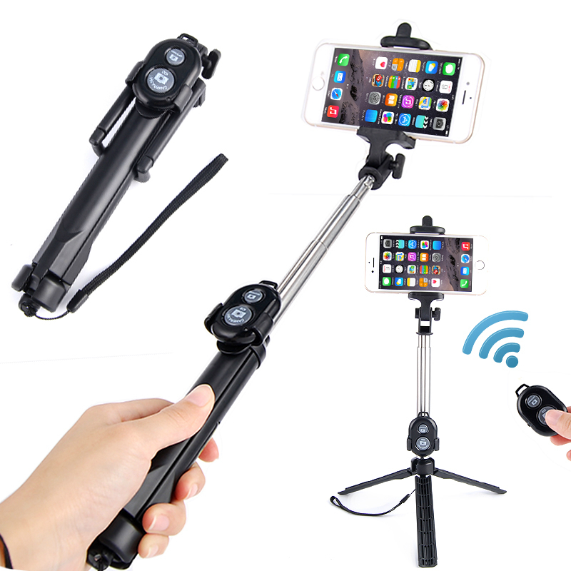 Remote Control Selfie Stick Bluetooth Monopod With Foldable Tripod Stand Phone Holder For Mobile phone