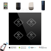 UK WIFI Touch Switch 4CH (AC90 250V) Tempered Glass LED light Control Switch Smart Home Switch Voice Control for Alexa