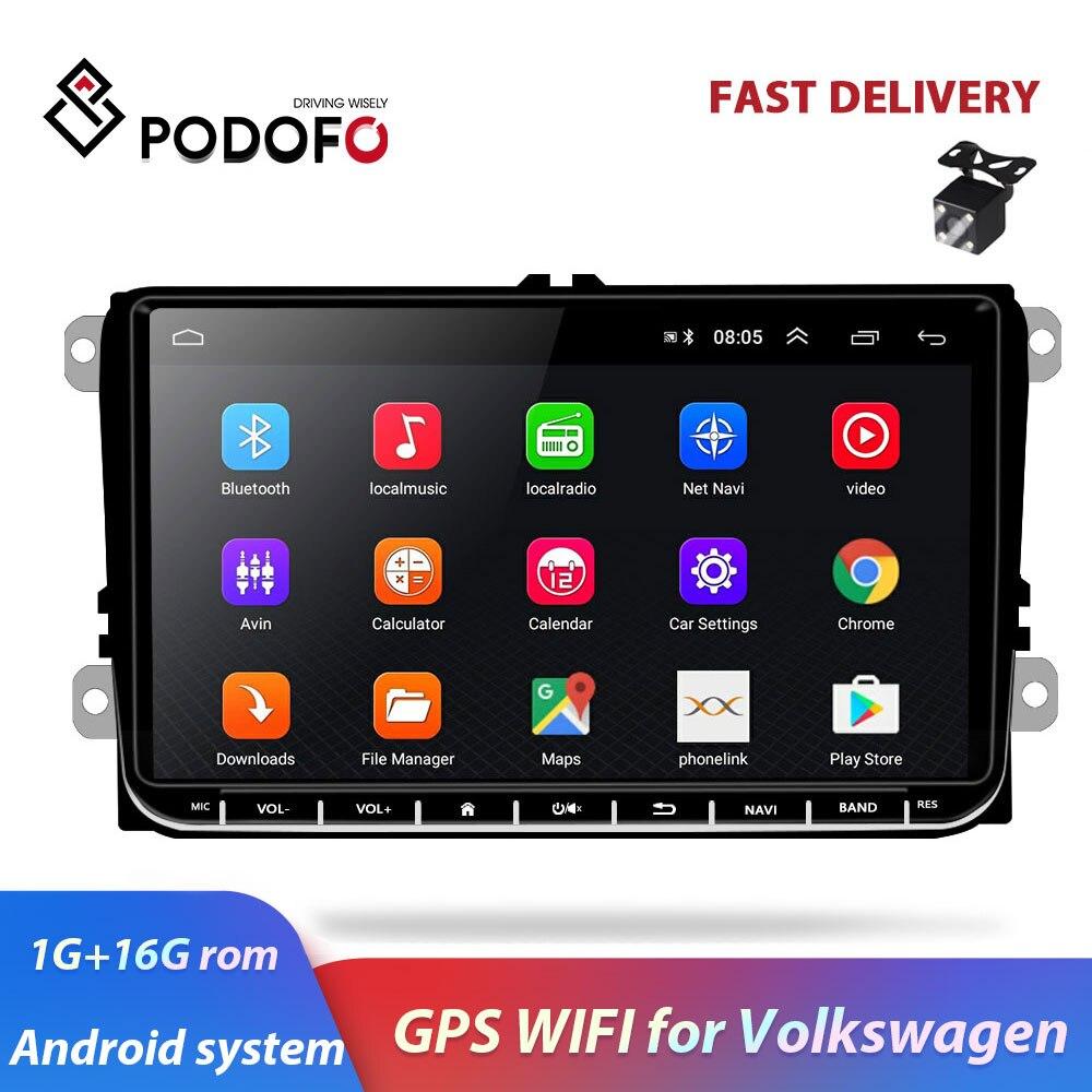 Podofo 9 Android autoradio GPS Navigation pour VW Volkswagen SKODA GOLF 5 Golf 6 POLO PASSAT B5 B6 JETTA TIGUAN lecteur dvd BT