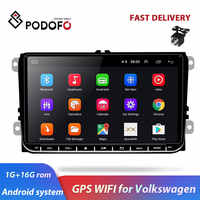 "Podofo 9"" Android Car Radio GPS Navigation for VW Volkswagen SKODA GOLF 5 Golf 6 POLO PASSAT B5 B6 JETTA TIGUAN dvd player BT"
