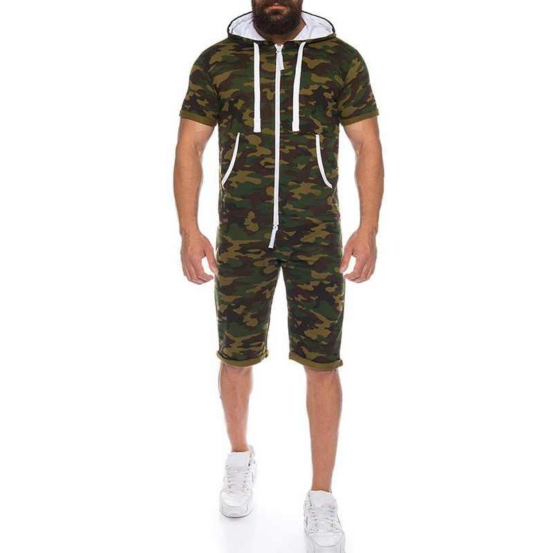 SHUJIN повседневное камуфляж спортивный комбинезон мужской комбинезон летние шорты рукавом толстовки Толстовка Спортивная короткие брюки для девочек на молни
