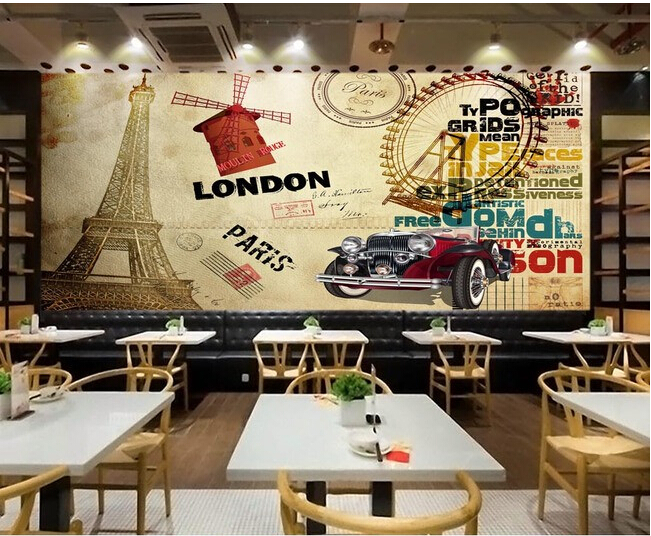 Custom retro wallpaper, Eiffel Tower and vintage car for living room bedroom TV background wall waterproof papel de parede custom vintage floral wallpaper abstract art flower wallpaper hotel restaurant living room tv sofa wall bedroom papel de parede