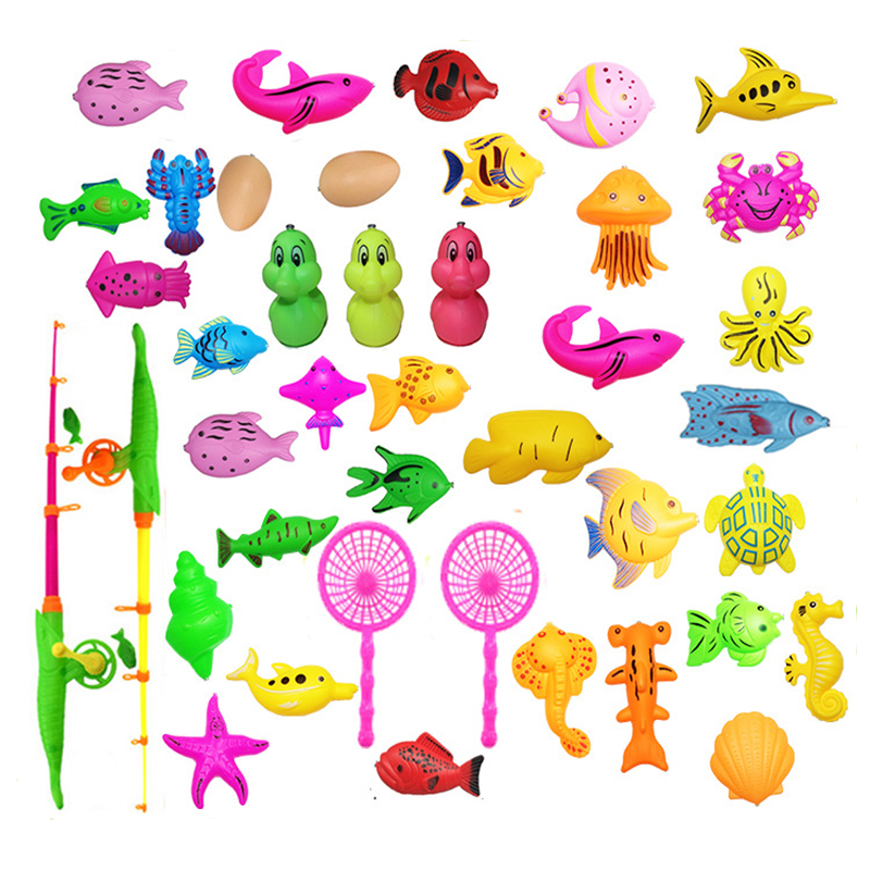 Eva2king 40Pcs/lot Funny Fishing Toys With Gonflable Pool Magnetic Fish Game Set For Kids Child Games Outdoor Birthday Gift Toy