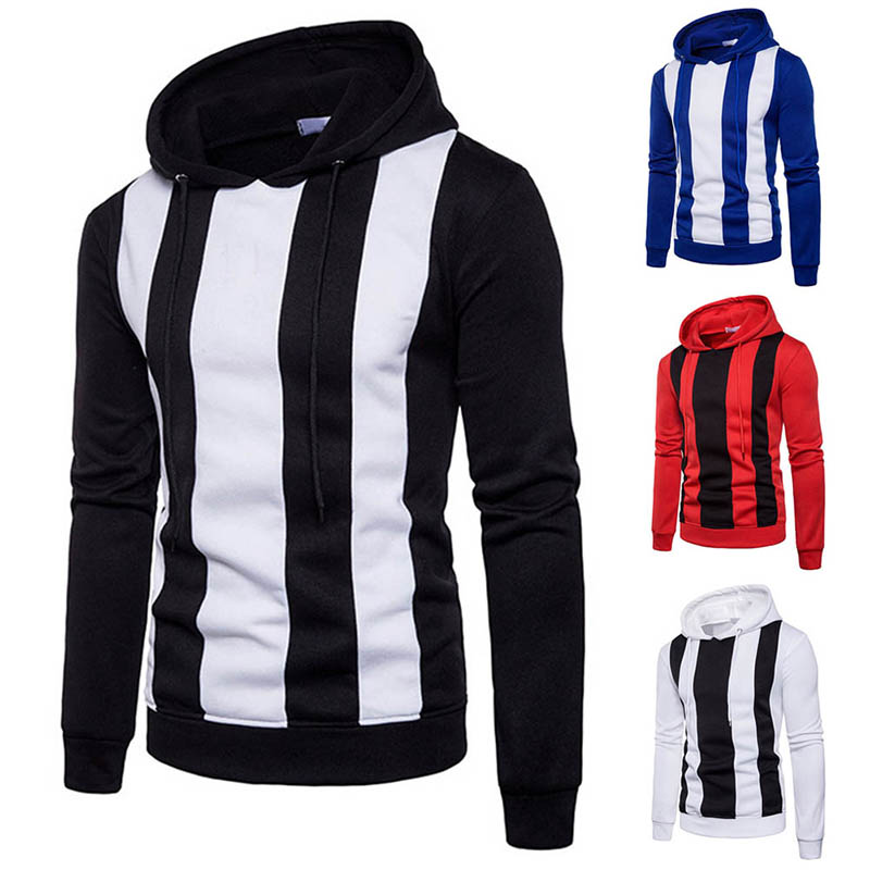 Fashion Men Hip Hop Color Patchwork Hooded Sweatshirt Slim Fit Hoodie Pullover Tops H9