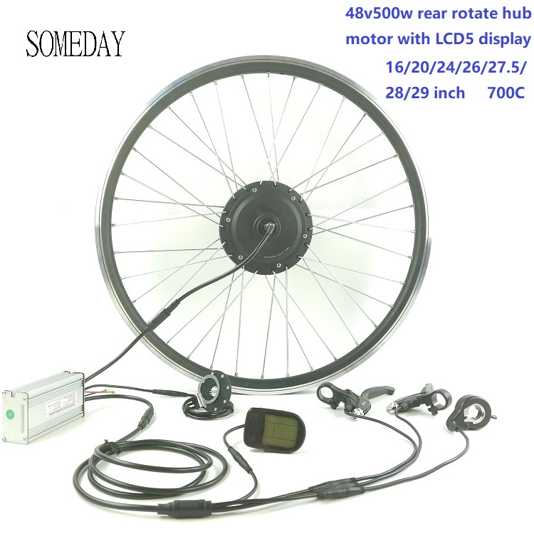 SOMEDAY E-bike Conversion Kit 48V500W Waterproof Cable Easy Install EBIKE Rear Rotate Hub Motor With LCD5 Display
