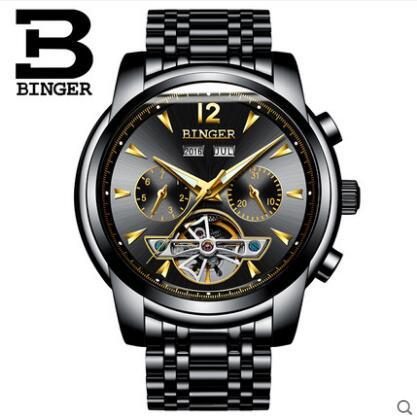 Genva 2017 New Men Wristwatches Dress Wrist Mechanical Watches Luxury Top Brand Binger Automatic Tourbillon Watch