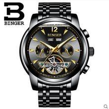 Genva 2017 neue männer armbanduhren kleid handgelenk mechanische uhren luxus top marke binger automatische tourbillon uhr