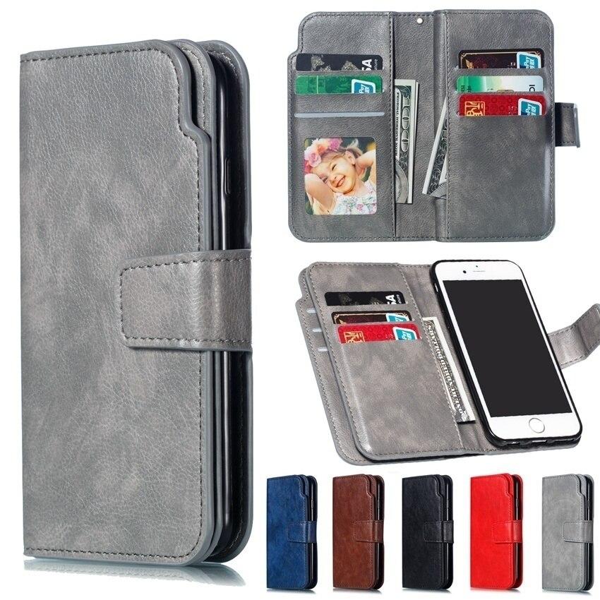 YiKELO Retro PU Leather Case For Samsung Galaxy J2 J3 J4 J5 J6 J7 J8 2015 2016 2017 2018 Multi Card Holders Wallet Cover Shells