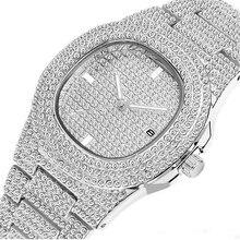 Мужские часы в стиле хип-хоп, золотые, с бриллиантами, мужские часы, лучший бренд класса люкс, Iced Out, мужские кварцевые часы, календарь, большой циферблат, подарок для мужчин