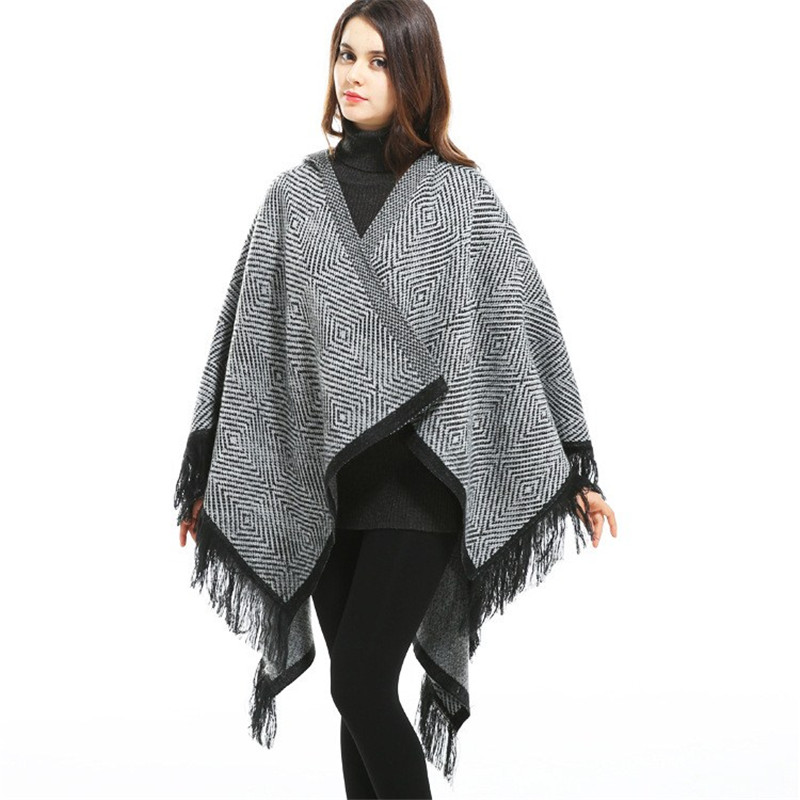 New Fashion Women Shawl Tassel Poncho Oversized Casual Poncho Plaid   Scarf     Wraps   Blanket Coat Cashmere