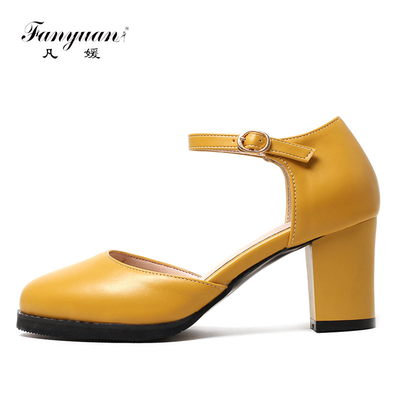 Fanyuan 2018 Spring Candy Sweet Ladies High Heels Shoes Retro Chunky Heel Footwear White Yellow Black D'Orsay Women Stilettos