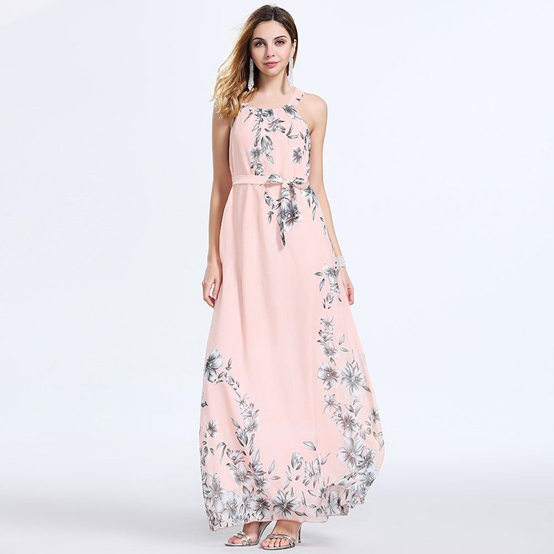 Lingswallow Floral Print O-Neck Maxi Sleeveless Beach Pleated Dress