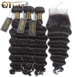 QT волосы свободные глубокая волна пучок s с закрытием перуанские волосы 3 пучка s с закрытием не Реми человеческие волосы переплетения пучок ...
