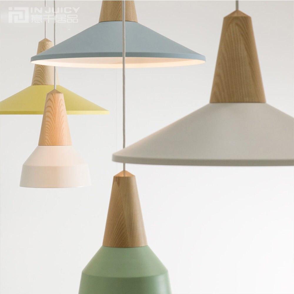 ФОТО Wood Nordic E27 LED Iron Loft Corridor Bedroom Restaurant Lamp Pendant Light Decor Cafe Hall Lighting Droplight New
