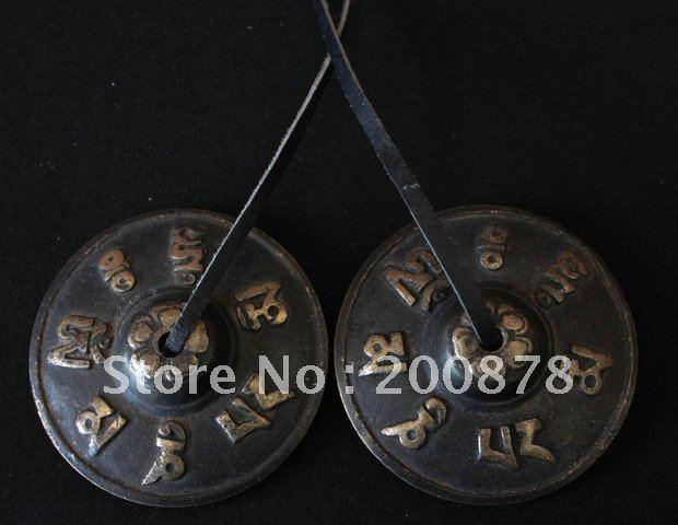 TBC942 Tibetan brass buddhist bells pair 65mm Tibetan metal OM MANI PADME HUM antiqued Cymbals