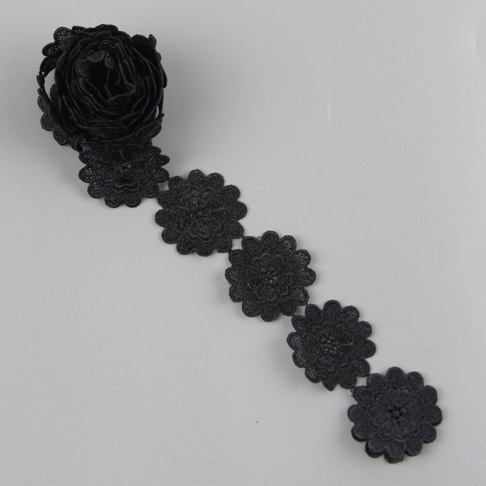 っ2 yardas negro flor Encaje TRIM applique cord Encaje Telas Costura ...